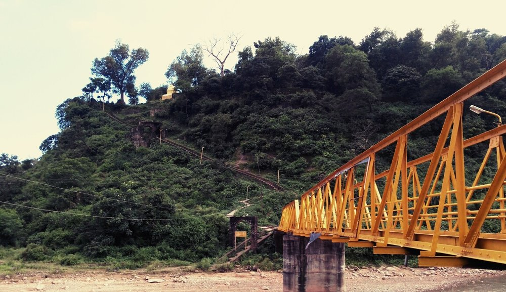 The Yellow Bridge and the Steps up the Steep Slope