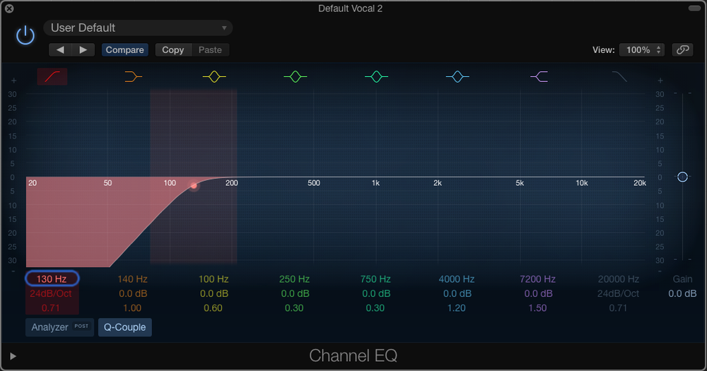 Logic's Channel EQ on a male vocalist