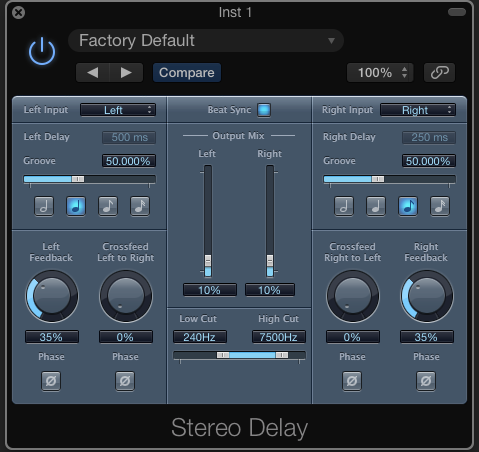 Logic's Stereo Delay plug-in has an inbuilt Low Cut and High Cut