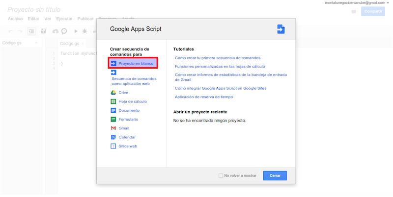 Nuevo proyecto en Google Apps Script