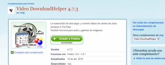 Descarga video download helper