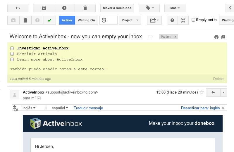 Procesar un email con ActiveInbox
