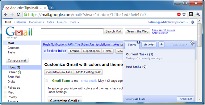 Pantalla de Taskforce en Gmail