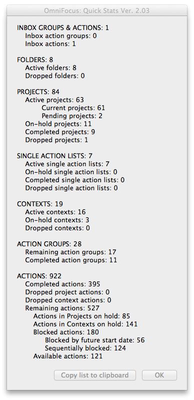 OmniFocus Quick Stats