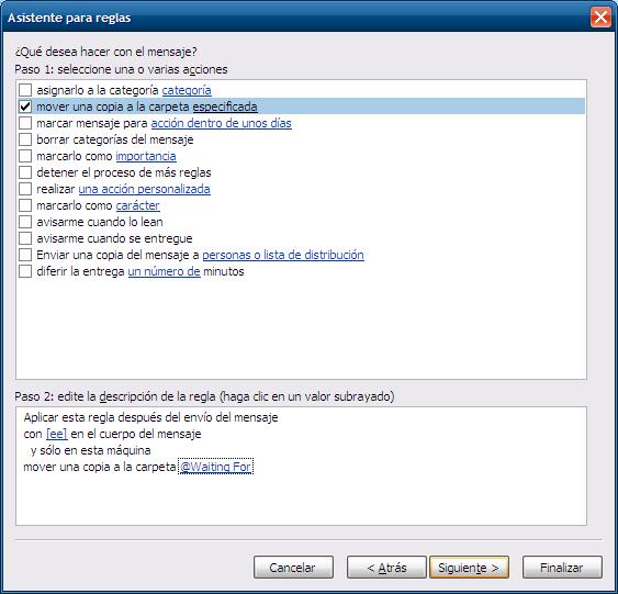 La regla para automatizar la lista de espera en Outlook