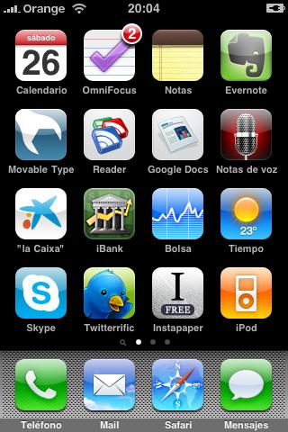 Pantalla principal de mi iPhone