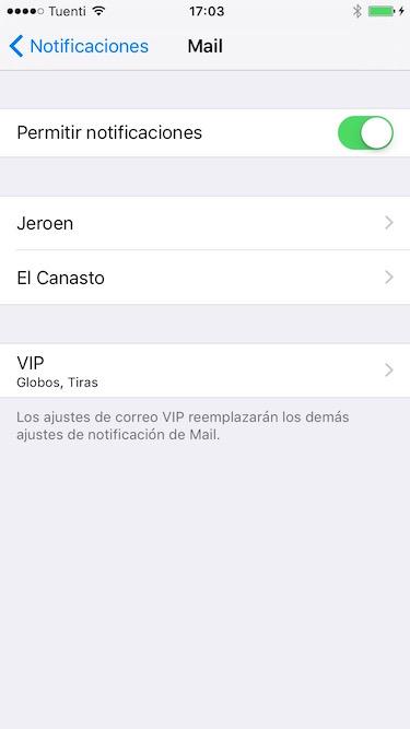 La configuración de notificaciones VIP en iOS
