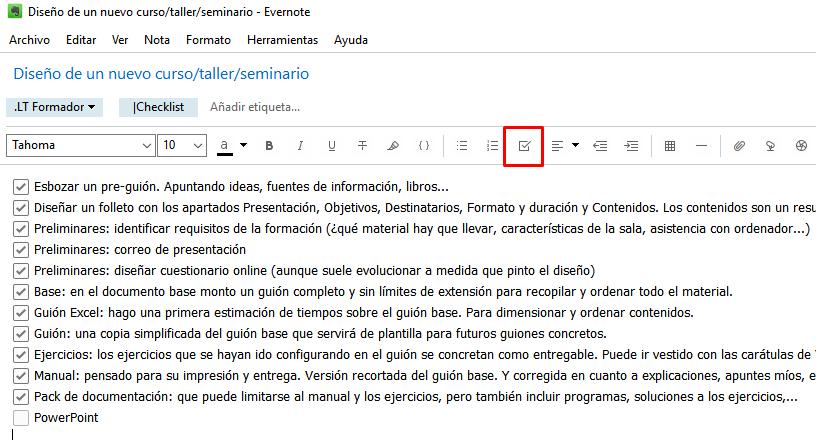 Un checklist en Evernote