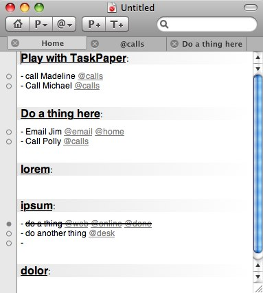 Pantalla de Taskpaper