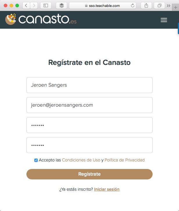 Registración en la plataforma del curso