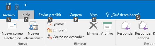 La cinta de Outlook al apretar la tecla 'Alt'
