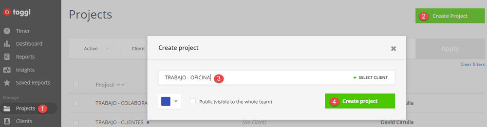 Crear un proyecto en Toggle