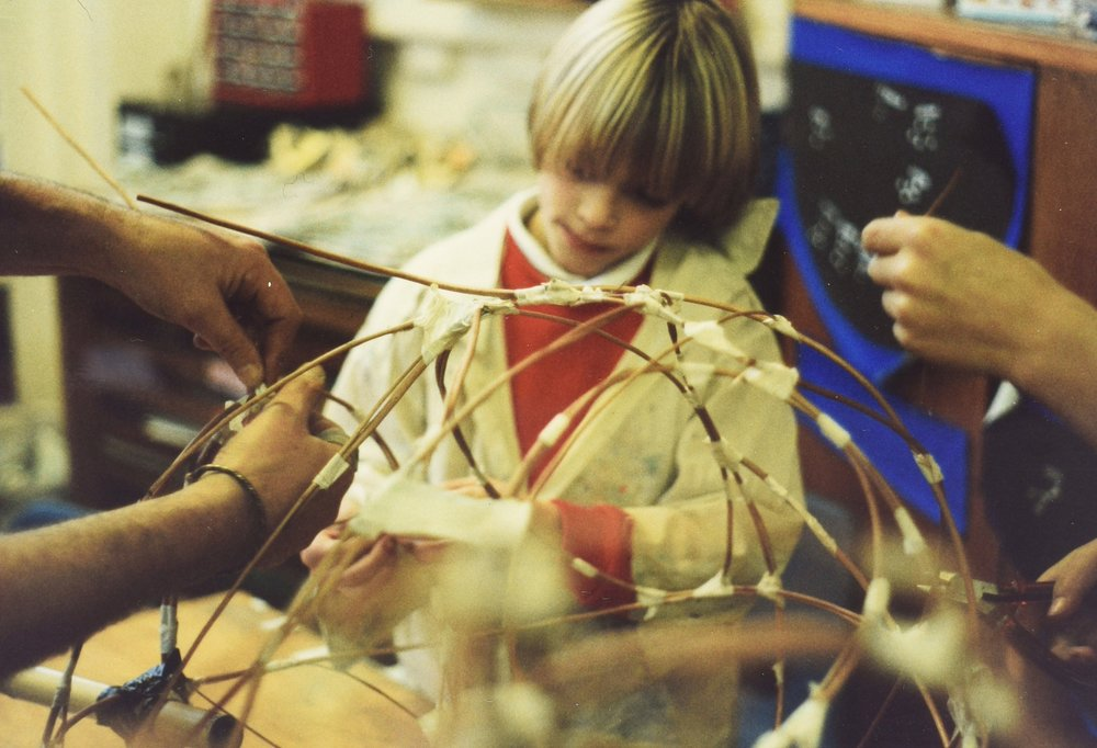 From the Junction Arts archive, a lantern making workshop in Bolsover in 1995