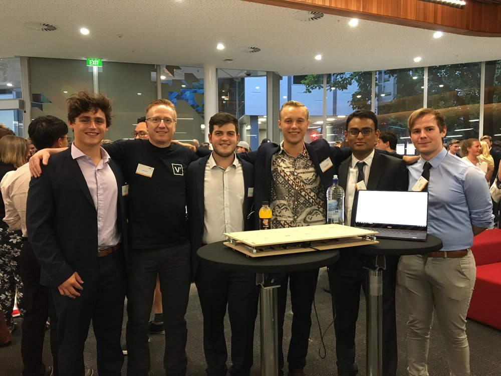 The team I was mentoring - SmartShelf Team: Dom, Me, Elia, Jamie, Dipan and Tim and the prototype
