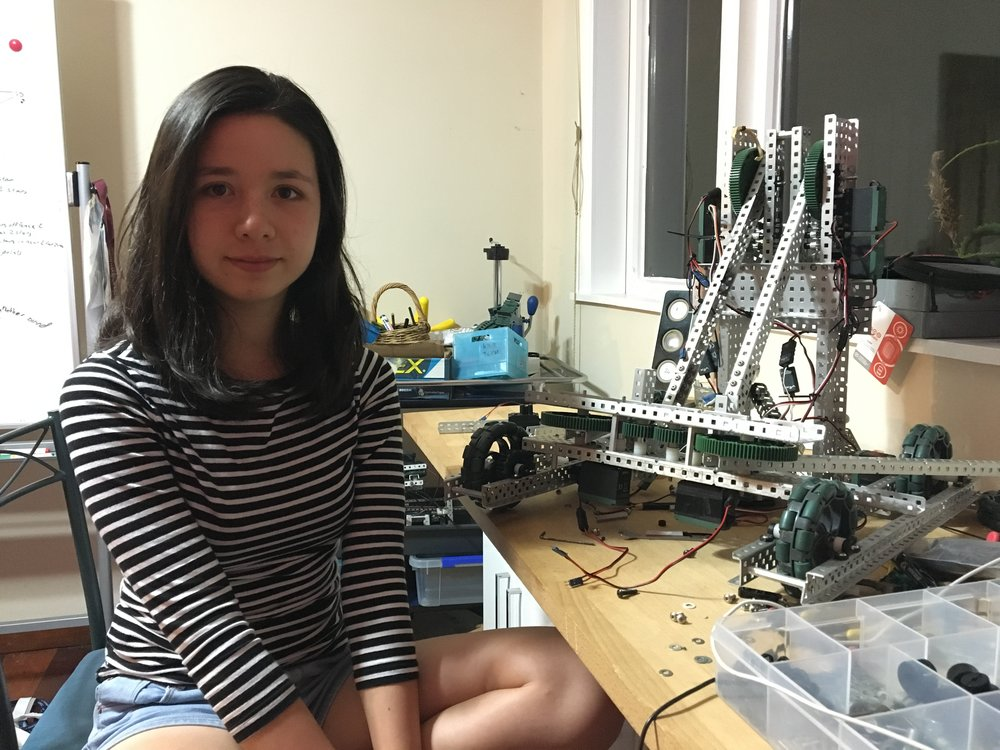 "Mikayla with one of her robots. She recently won the ASB Bright Sparks Challenge for her ""Internet of Things"" particulate pollution sensor."