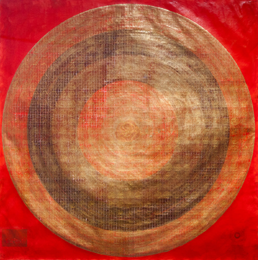 A Balancing Act of Celestial Proportions (Red/Sun) , 2013, Acrylic ink, graphite, gold leaf, woodblock stamps, needle tool, blade & sandpaper on found target paper, 140 x 140 cm