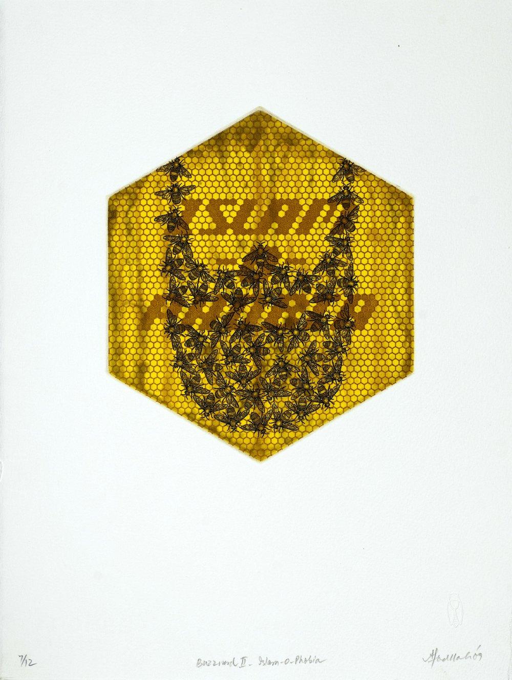 Buzzword -II (Islamophobia),  etching,18.25 x 21 cm