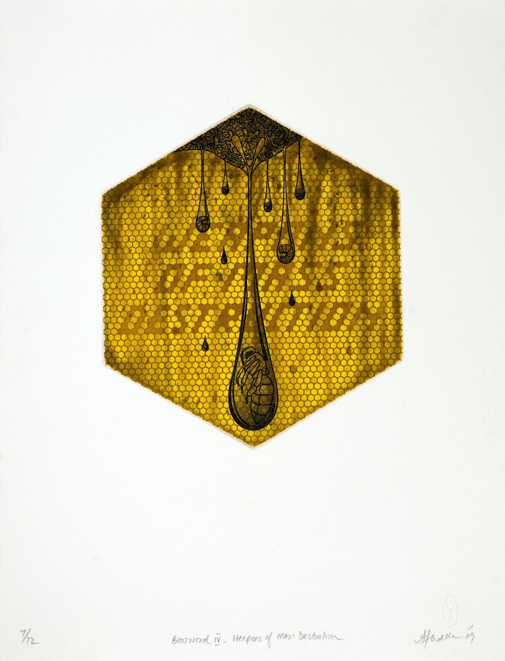 Buzzword -IV (Weapons of Mass Destruction) , etching, 18.25 x 21 cm