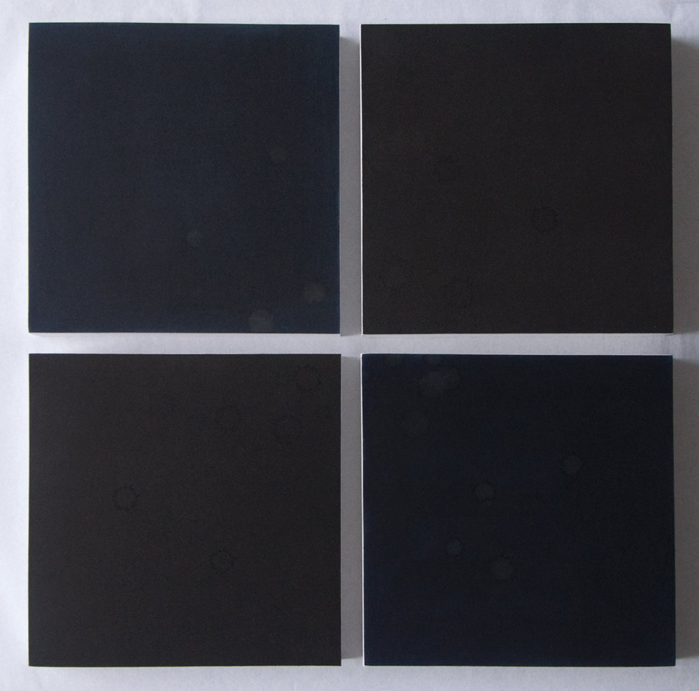 Tears II - 2 x 2 Square: 4 Midnight Blue and Black Squares, Ashk Series,  2016,  Artist's tears on inked paper on board, 20 x 20 cm each