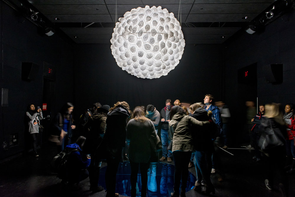 Light Upon Light (Nurun 'ala Nur) , 2015, Interactive/immersive installation, Hand-stitched white crouched taqiyah (skullcaps), LED light, Perspex dome and mirror,  dimension variable