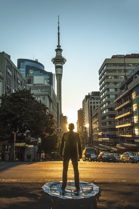 Soft Target: Sky Tower, Victoria Street West, Auckland, 2012, UV Inkjet Print, photograph taken by Roohi S Ahmed