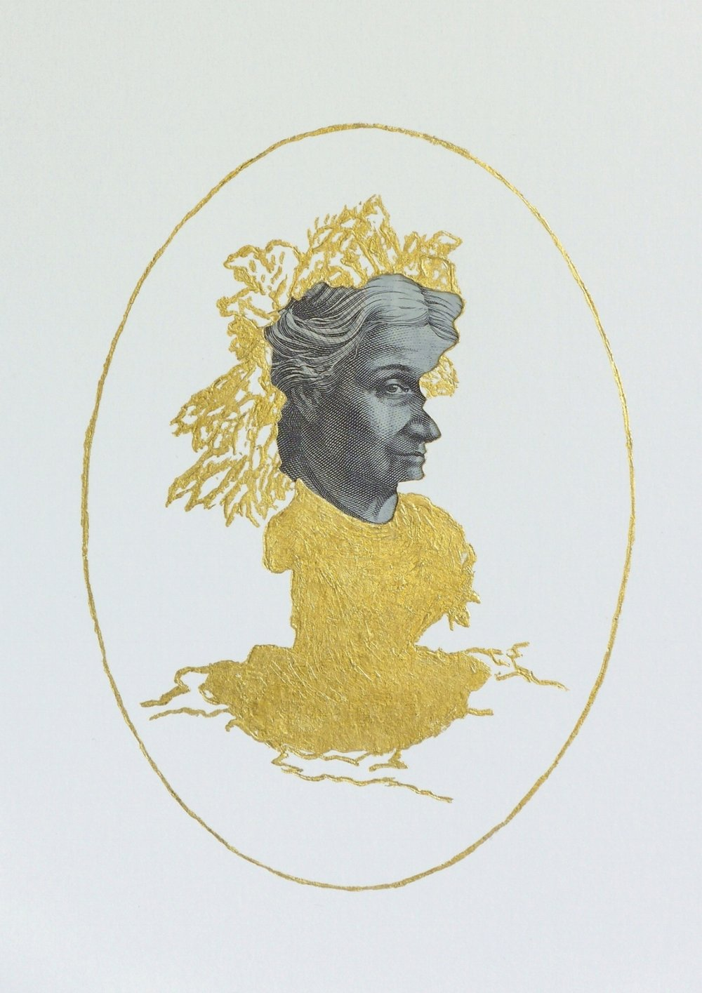 Myth of a Silhouette Portrait series , 2017, 50AUD and 24c gold leaf on hand-cut paper, 13 x 9.4 cm