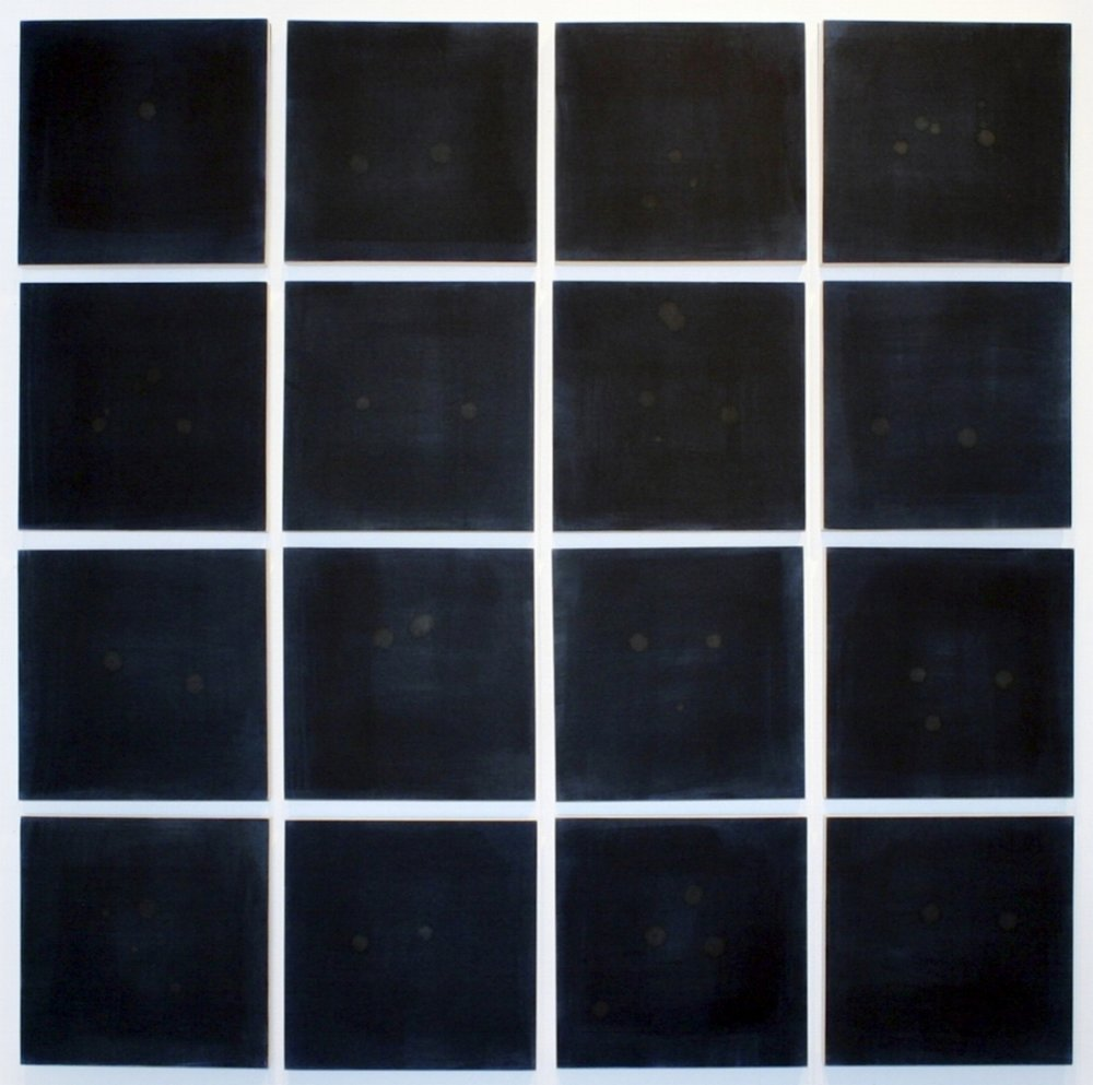 Tears I - 4 x 4 Square: 16 Midnight Blue Squares, Ashk Series,  2016, Artist's tears on inked paper on board, 20 x 20 cm each