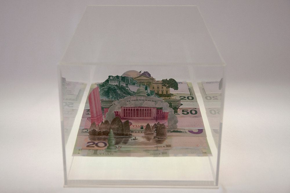 Moneyscape-I (from the Imaginable Landscape series),  2014, Hand-cut and assembled various US dollar bills and Chinese Yuan in custom-made Perspex vitrine, 24.5 x 15 x13.5 cms.