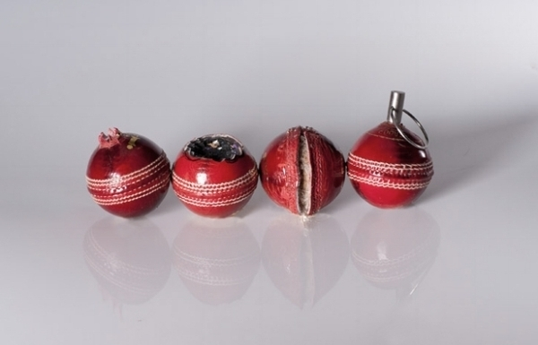 Forbidden Fruits  Series, 2012-, Hand carved leather cricket ball and metal in custom made Perspex box
