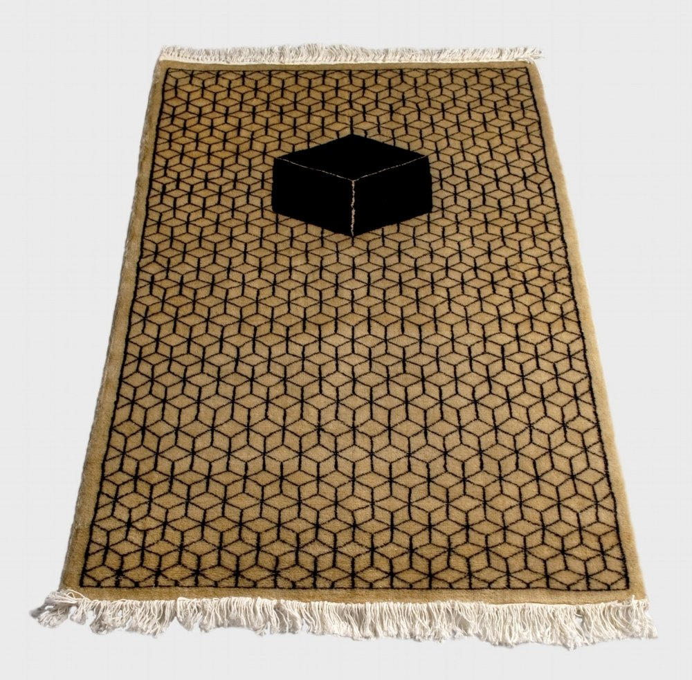 Prayer Rug of Necker Cube , 2009, Hand woven wool silk, made in collaboration with Carper weaver in Karachi, Pakistan