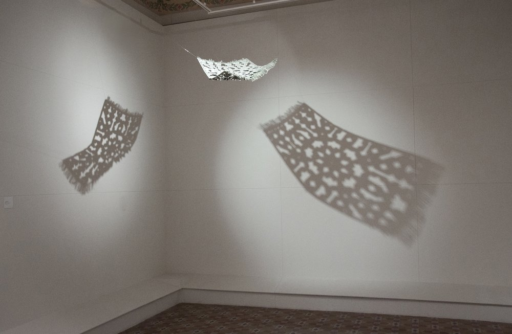 Flying Rug,  2008 -, Hand-folded US$ bills and staple pins, 51 x 76 cm also 75 x 100 cm, Installation dimensions variable: Mohatta Palace, Karachi, 2010
