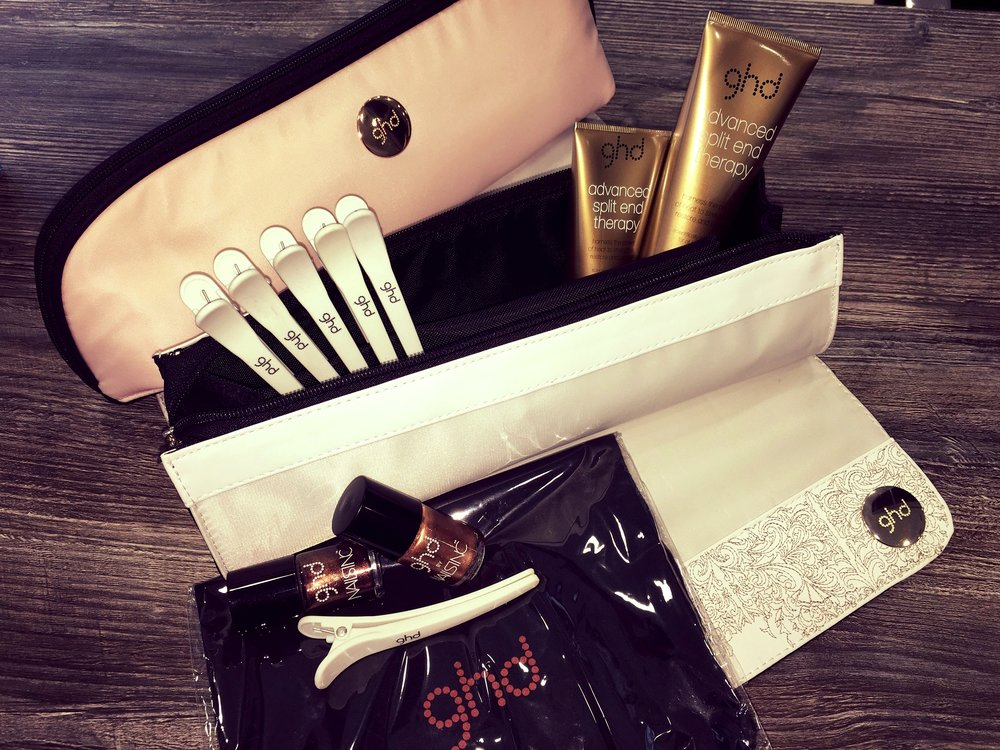 2 Roll bags full of products & accessories  - GHD have donated 2 heat proof roll bags to give away.  These can store you hot straighteners, they also come with extra clips, products and GHD nail varnish!
