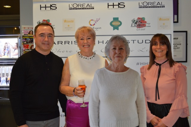 "Pictured from left to right - Barry Harrison, Barbara Rouse(after), Barbara Rouse(before) and Tanya Harrison  This photograph is of Barbara Rouse's before and after from our ""Ten Years Younger"" - 10 year anniversary event November 2017.  We treated Barbara to a full on pamper worth over £800.  We had her chauffeur driven to all her appointments by  HHS Luxury Chauffeurs  which included facials, manicures, pedicures and beauty from  Liz Ellis Cosmetics , a shopping spree with a personal shopper, Make-up by award winning make-up artist Louise Welsh and of course the crowning glory which is the all important hair cut, colour and style that was all preformed by our Master Technical Director, Tanya.  Barbara's speech and reveal is linked below if you would like to watch how it all went on the night!"