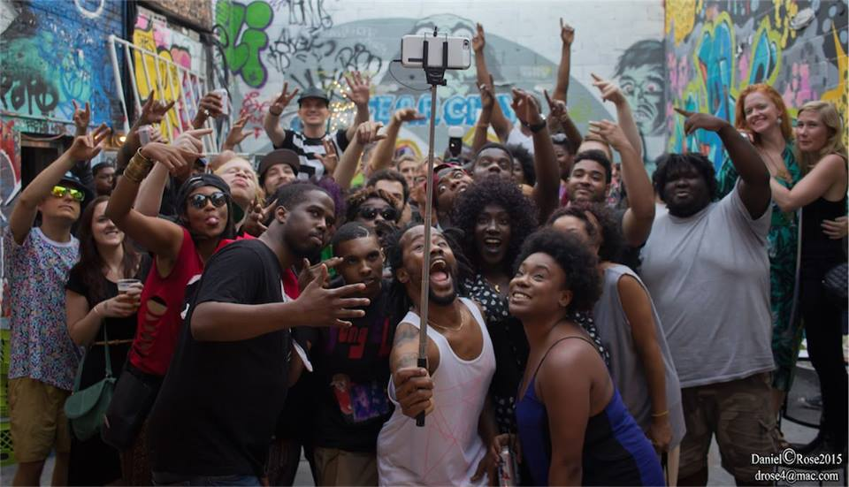 Group selfie during the Brooklyn Wildlife Summer Festival at The Paper Box; captured by Daniel Rose