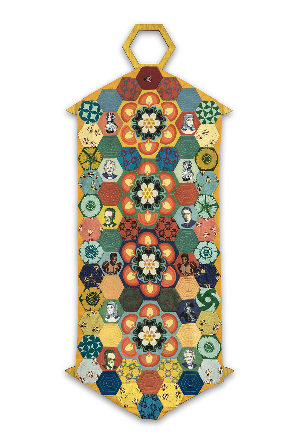 """History Repeating Itself"" quilted wall hanging -handyed silk, screenprinted and digitally printed fabrics - inspired by all things related to bees"
