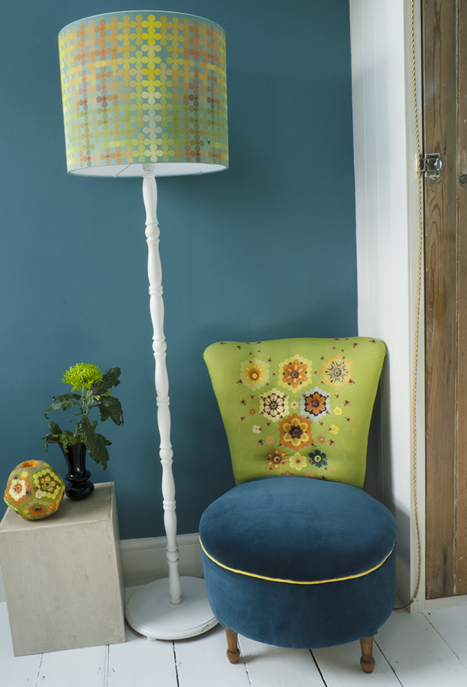 Mini Pollen lampshade in Turquoise and Queen Bee Chair upholstered by Mel Shearsmith of A Peculia Grace