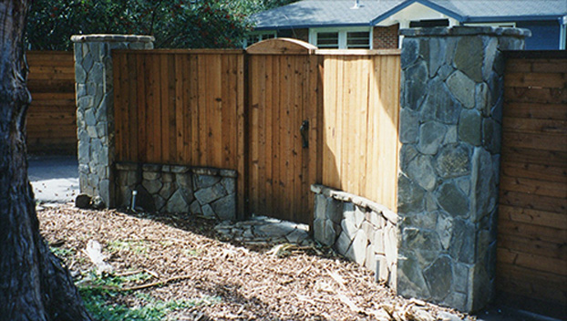 10_San Anselmo Front Pedestrian Entry Gate with Stone Columns.jpg
