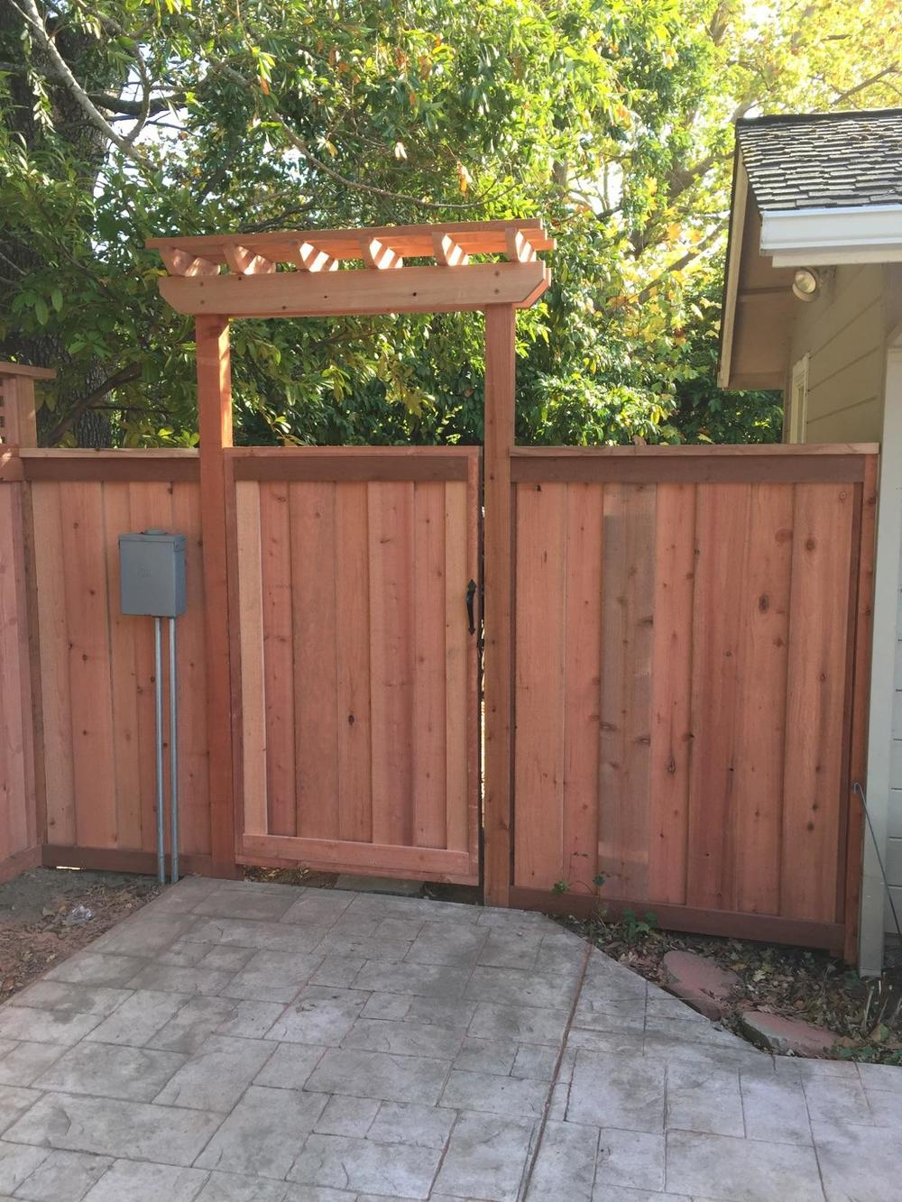 FSC Redwood Fence with Entry Gate Marin County.jpg