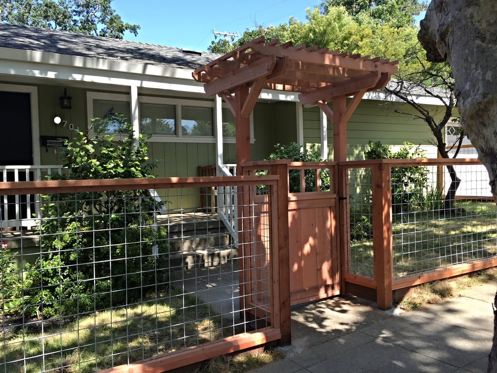 FSC Redwood with Hog Panel, simple gate and trellis in San Anselmo, CA