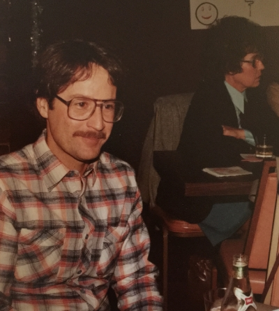 The author's father, Tom, at a party.