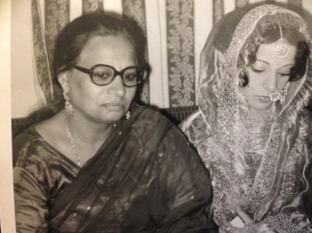 the author's Nani and mother on her mother's wedding day in 1975