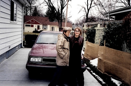 Marilyn and Meredith laugh and wait for the snow to melt in 1998 or 99.