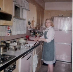 The author's industrious mother in her kitchen