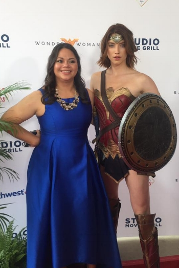 US Army veteran and Combined Arms Team member Monique Rodriguez with Wonder Woman.