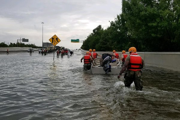 Rescue teams from the Texas National Guard in Houston, Texas.