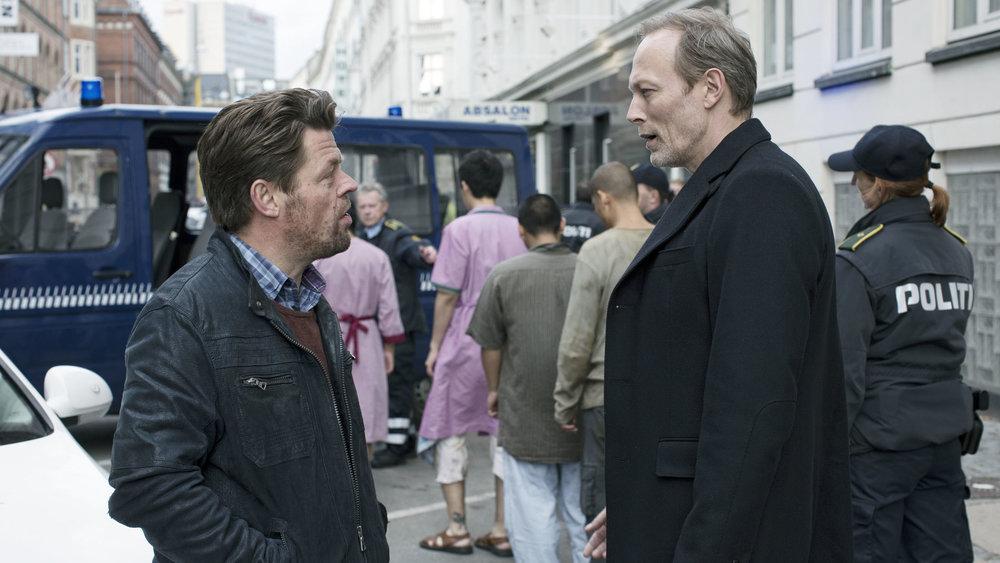 Lars Mikkelsen and Ole Boisen in THE TEAM directed by Kathrine Windfeld - DoP Morten Søborg. Courtesy ZDF/LUNANIME