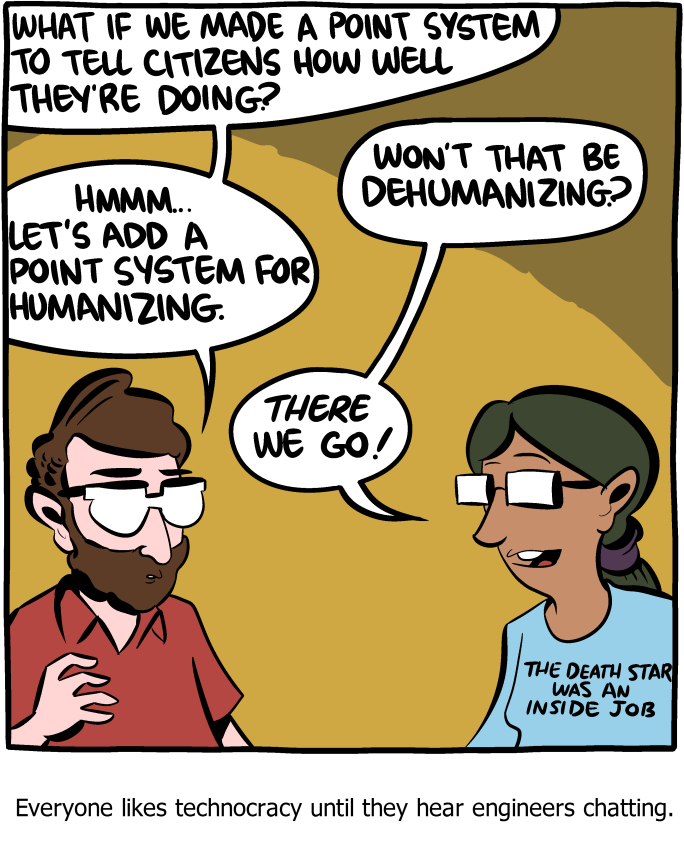 "Comic from  Saturday Morning Breakfast Cereal , one of my other favourite webcomics. Click through for the alt-text. You could definitely replace ""engineers"" in the comic above with ""finance professionals"", or ""economists""..."