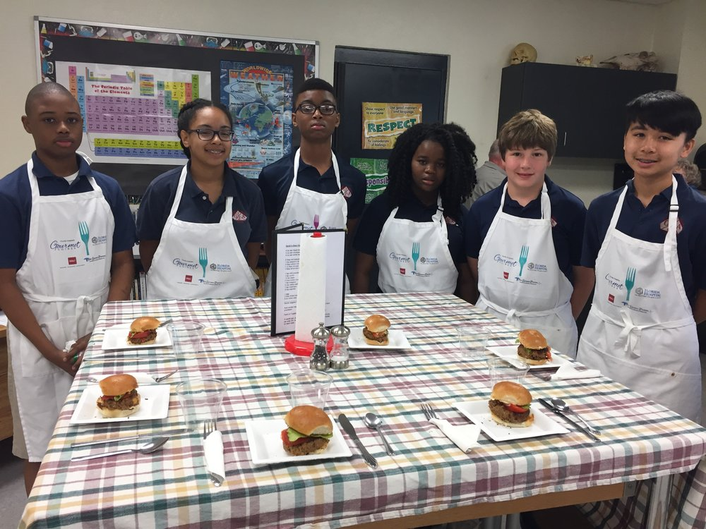 A 7th Grade team with their bean burgers awaiting comments from the judges