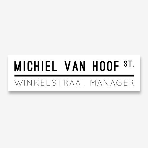 Logo Michiel van Hoof winkelstraat manager   Logo ontwerp:  Marloes de Laat