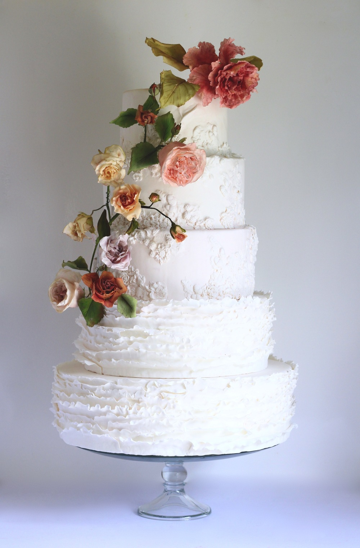 white wedding cake trinidad and tobago with garden roses by jaime gerard cake